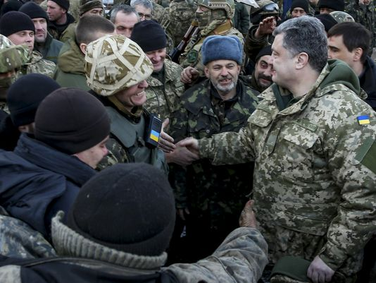 Poroshenko and troops